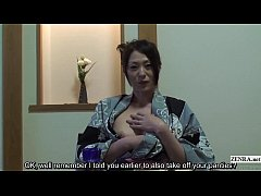 Subtitled uncensored shy Japanese milf in yukat...