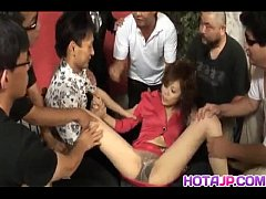 Natsumi Mitsu gets cum on face from dicks she s...
