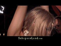 Bondage porn for busty slave performing oral se...