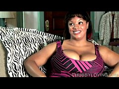Big tits black BBW imagines you fucking her fat...