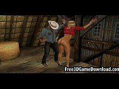 hunky 3d cartoon cowboy fucks his beautiful bitches