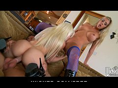 Two blonde sluts in fishnets share one big-cock