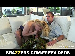 BUSTY blonde MILF is caught and fucked in her natural habitat