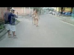 Barefoot Naked and Pregnant Woman on the Street