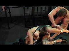 BDSM XXX Sexy tattooed Slave girl gets mouth fu...