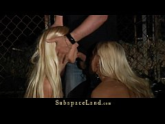 Captive blondes hard spanked and fucked at midn...