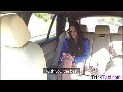 Petite amateur brunette passenger railed by fra...
