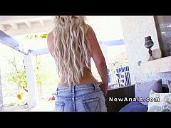 Natural busty blonde anal banged hard in backyard