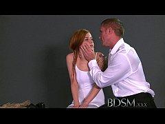 BDSM XXX Teen sub girls innocent face drips wit...