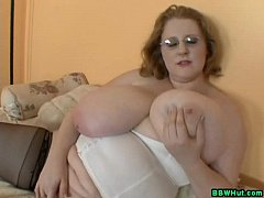 BBW MILF Plays With Massive Natural Tits And Di...