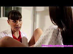 Lesbian doctor fingers tight amateur patient
