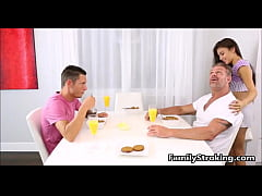 Family Threesome - Step Dad, Daughter and Son -...