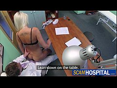 beautiful doctors wife gets banged in the table by a huge cock