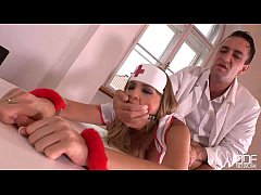 bdsm prescription - handcuffed and gagged in the clinic
