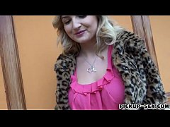 Blond Eurobabe flashes big tits and screwed for...