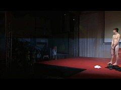 Cute blonde on stage teasing