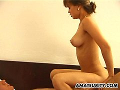 Cute amateur girlfriend sucks and fucks with fa...