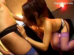 2 Girls In Sexy Stockings With Strapons Kissing...