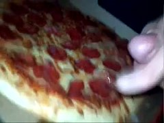 massive cumshot on young wifes pizza has friend...