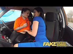 Fake Driving School Busty lesbian ex-con eats h...