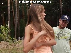 young girl showing tits in the forest