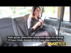 Fake Taxi big facial cum shot for brunette in s...
