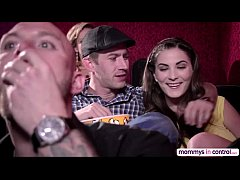 Teen Cherie in a movie date dicking threesome w...