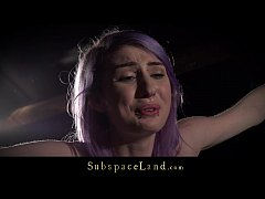 Purple hair slave rough spanked and dominated i...