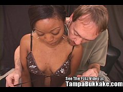 Ebony Kim's 5 White Cock Sex Table Gang Bang
