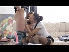 two horny teen in hot threesome