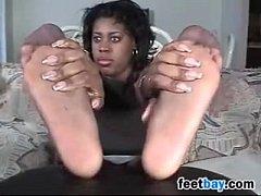 Ebony Girl Teases Her Nylon Covered Feet