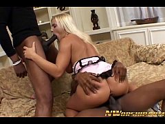 blonde slut anal interracial threesome with two...
