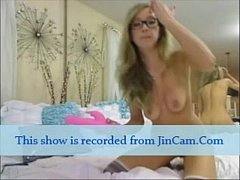 Blonde camgirl masturbation show with toys on w...