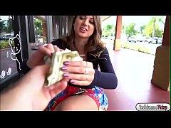 busty brunette babe fucks for money