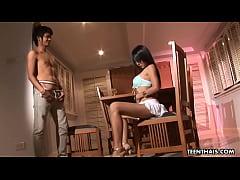 Cute Thai slut sucking and fucking the skinny dude