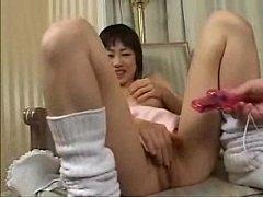 Cute asian in solo masturbation