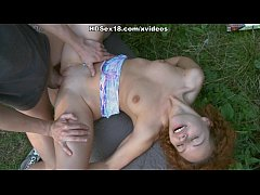 Curly girl in the hot outdoor deep penetration ...
