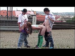 young teen girl alexis crystal public sex threesome orgy at the railway station