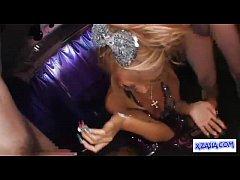 Hot Tanned Stripper In Sexy Dress Giving Blowjo...