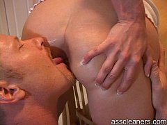 Man is demanded by mistress to lick her ass hole