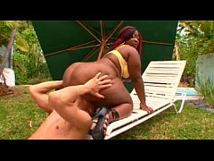 fat ass black woman rides a white dick