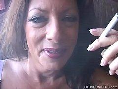 Super sexy old spunker enjoys a smoke break and...