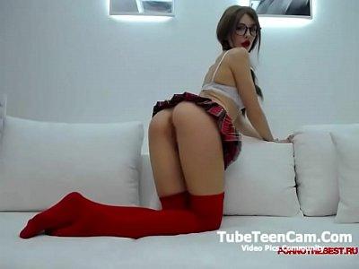 Webcam girl in mini skirt Deanal hardly dildoing her little asshole