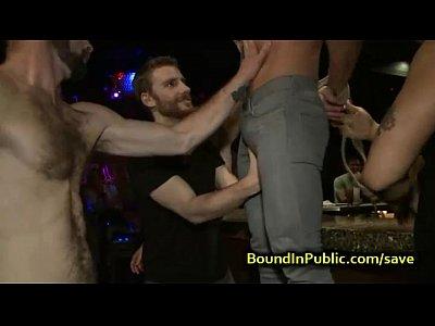 Baldheaded gay gangbang fucked in bar