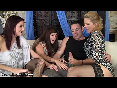 These Stunning Hot Cougars Have Wild Orgy With Guy! (6 min)