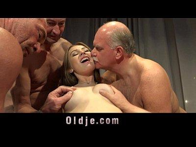 Seven grandpas gabg bangs sexy young blonde at a meeting 2