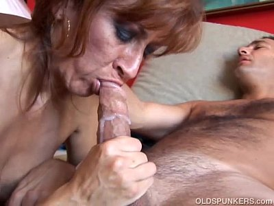 Older woman eating cum