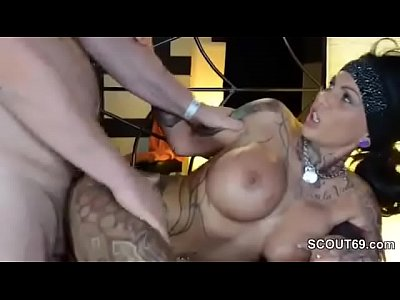 Giant dildo in pussy