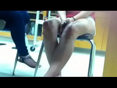 Candid 18yo feet flip flops in class 8