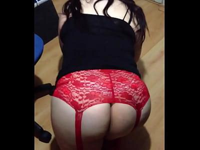 Xxx en hilo Mi perrita culona en liguero rojo